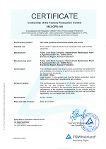 Certificate Conformity of the Factory Poduction Control 1853-CPR-105 until 2024-03-30